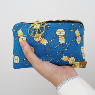 Zipper Pouch in Rainbow Cats on Blue