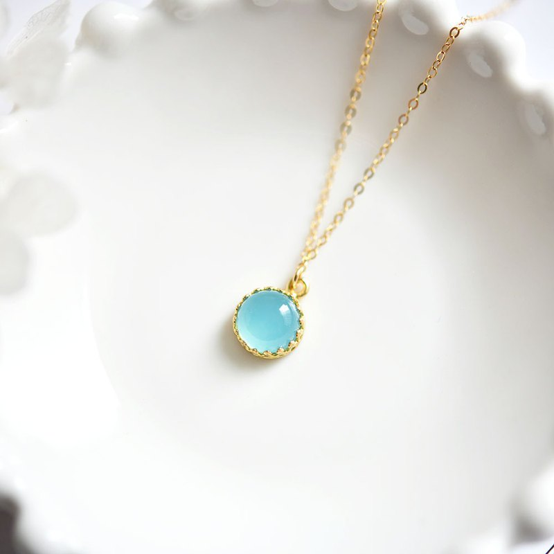 Stone that symbolizes the connection with people Sky blue chalcedony bezel necklace May birthstone