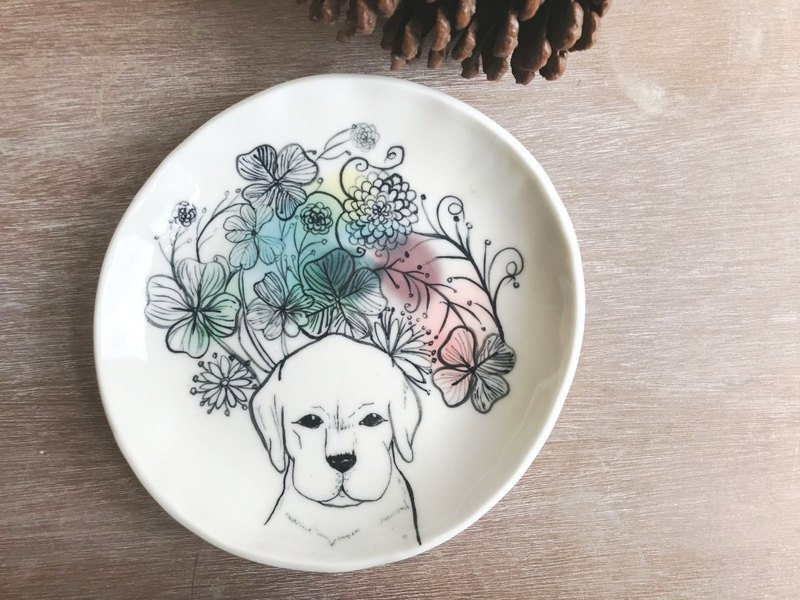 Handmake Ceramic plate with dog patten