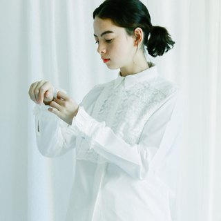 lace bib shirt with pleated cuff