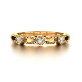 【PurpleMay Jewellery】18k Rose Gold Hollow Natural Diamond Ring R005
