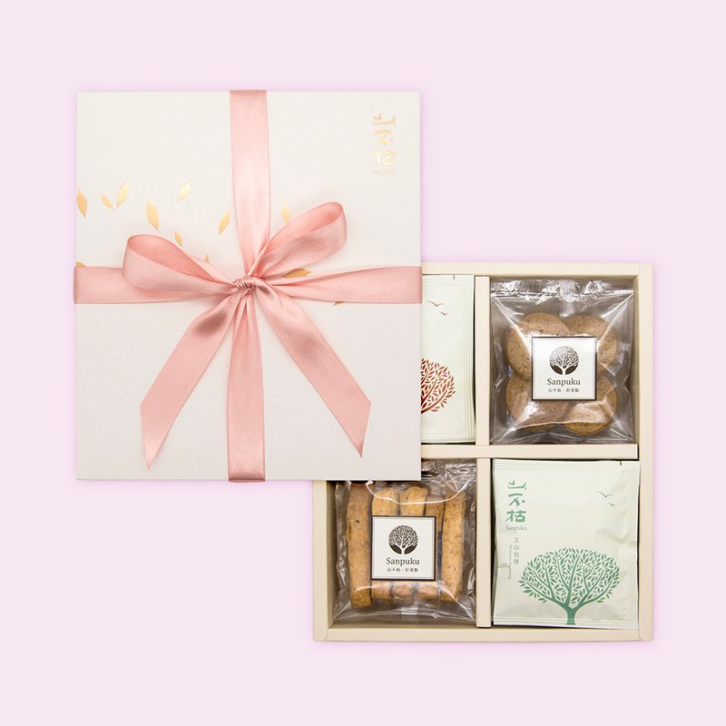 Four Happiness Gift Box, Eat Salty Sweet, Handmade Biscuits Tea Bag Set