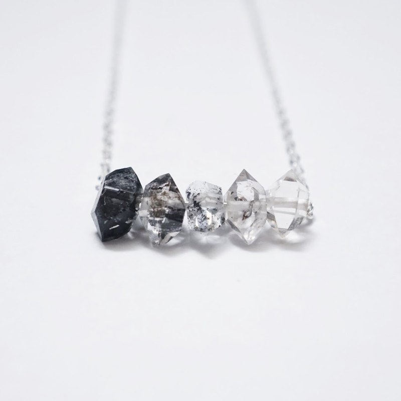 [The Shadow Collection] 925純銀漸變色閃靈石項鏈 Ombre Gradient Herkimer Diamond 925 Sterling Silver Necklace