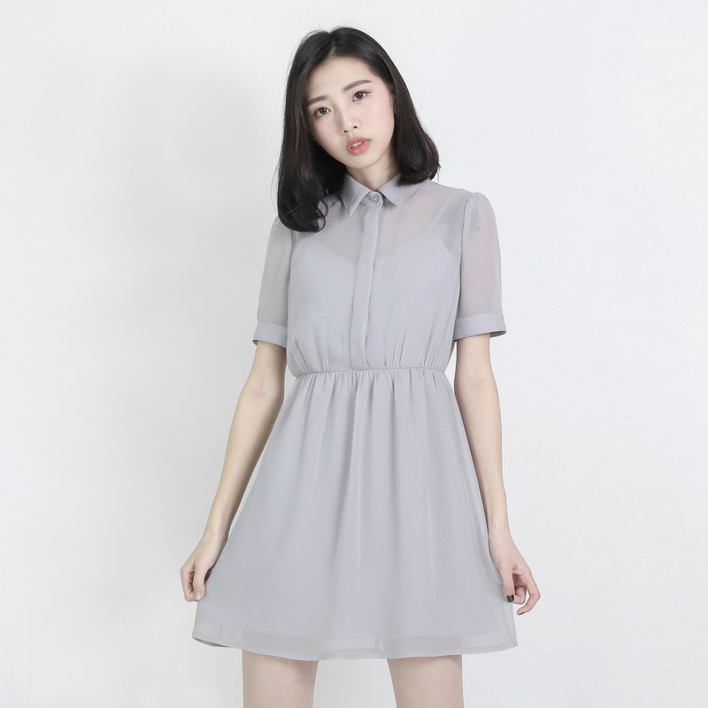 [Classic and Original] Chiffon Fog Spinning Dress _8SF102_Gray
