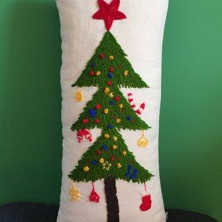 Pillow | Cushion - Christmas tree chrismas tree stars handmade embroidery cotton wool