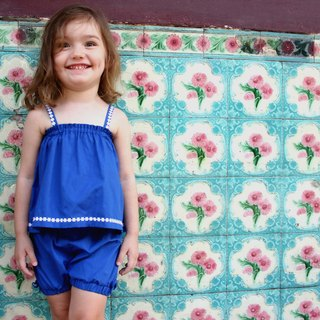 Deep blue baby girl top and bloomer shorts