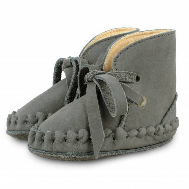 Netherlands Donsje leather bristled bow tie boots children's shoes dark gray 0570-NL122-NL122
