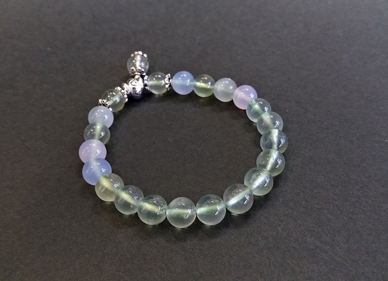 Graceful - Natural Grape Stone + Blue Chalcedony + Moonstone + Pink Chalcedony Silver Handcuffs