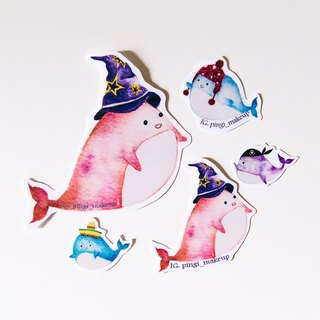 Whale hat show Stickers round whale hat show stickers set of hand-painted watercolor stickers pack