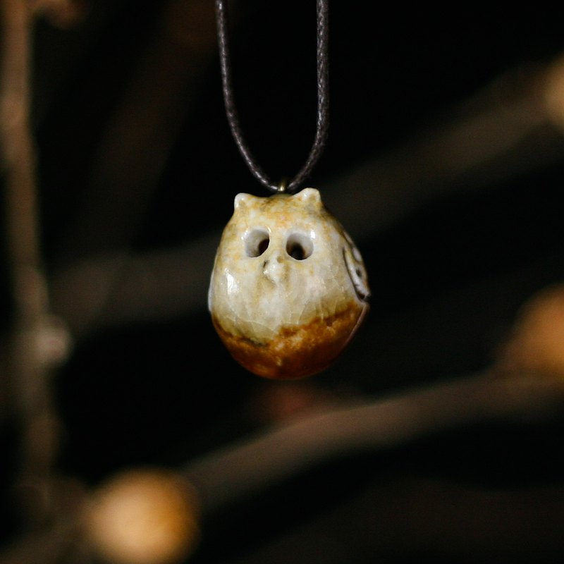 Wood fired pottery essential oil necklace small ear owl