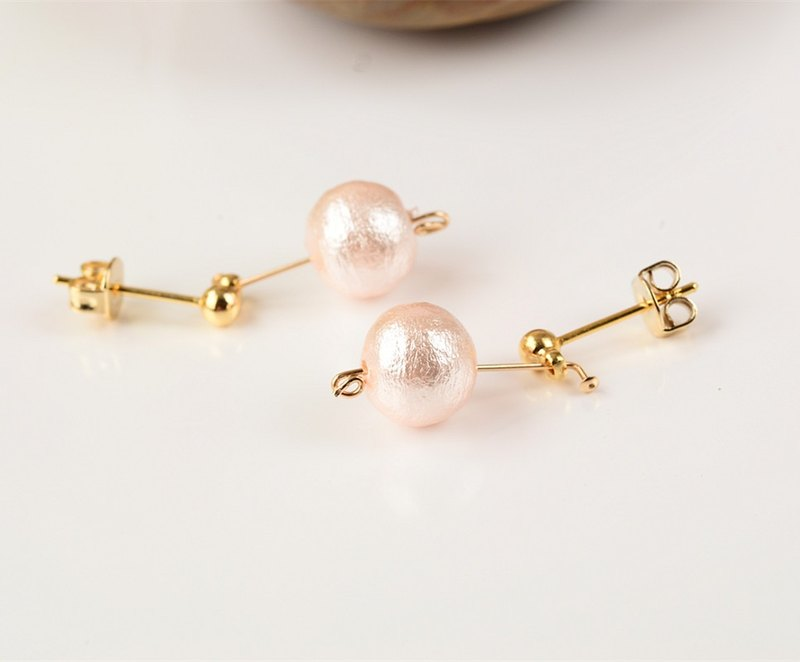 I'm waiting for you in the depths of memories - cotton pearl earrings 14K gold gifts girlfriend