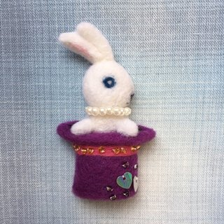 Little White Rabbit Magician - hand made wool felt pins
