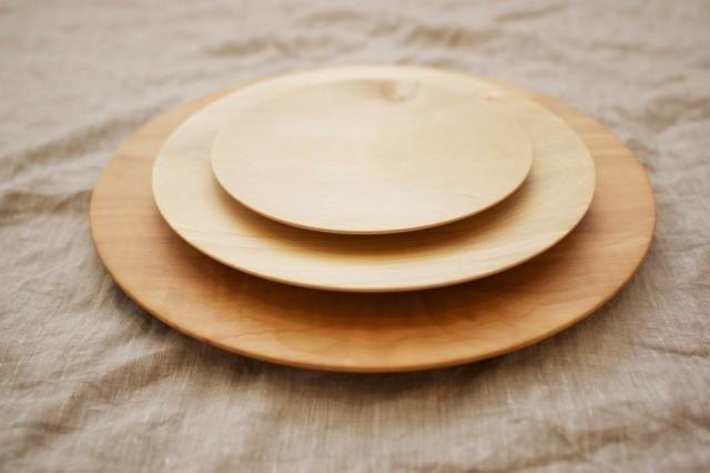 Wood 21cm of the potter's wheel ground wooden plate chestnut (land)