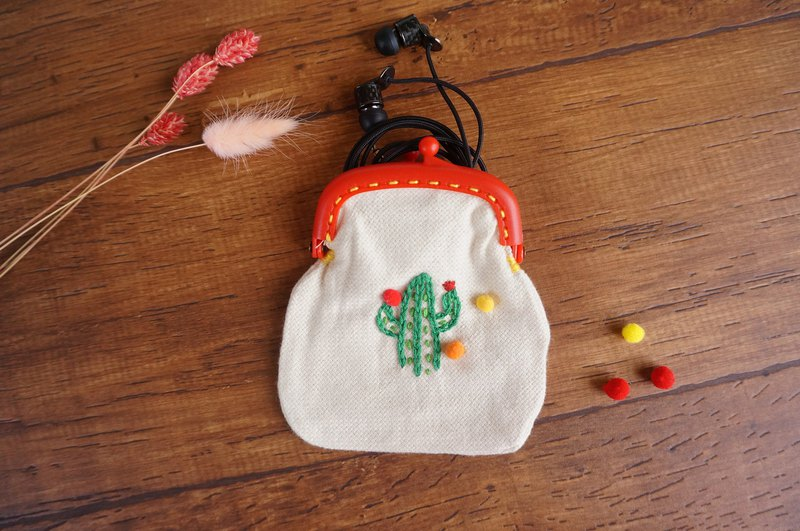 Cactus embroidered gold bag