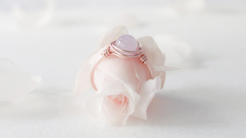 February Birthstone 6mm Lavender Amethyst Rose Gold Copper Ring