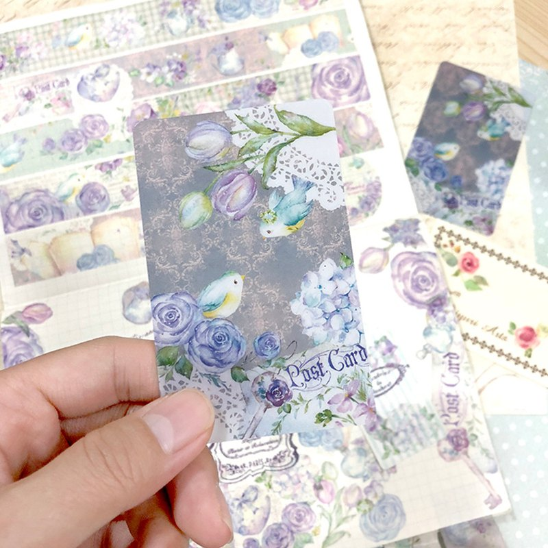 Masking tape card / bookmark - Romantic Flowers