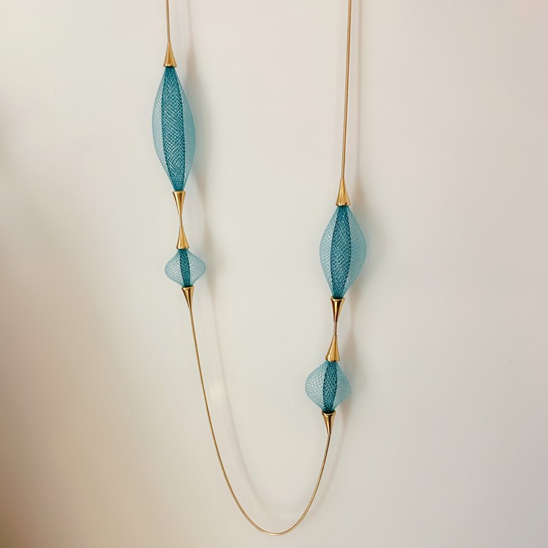 French handmade two-tone nylon long necklace _ sky blue
