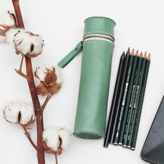 Cylinder vegetable tanned leather pencil case / Pen pouch - Turquoise color