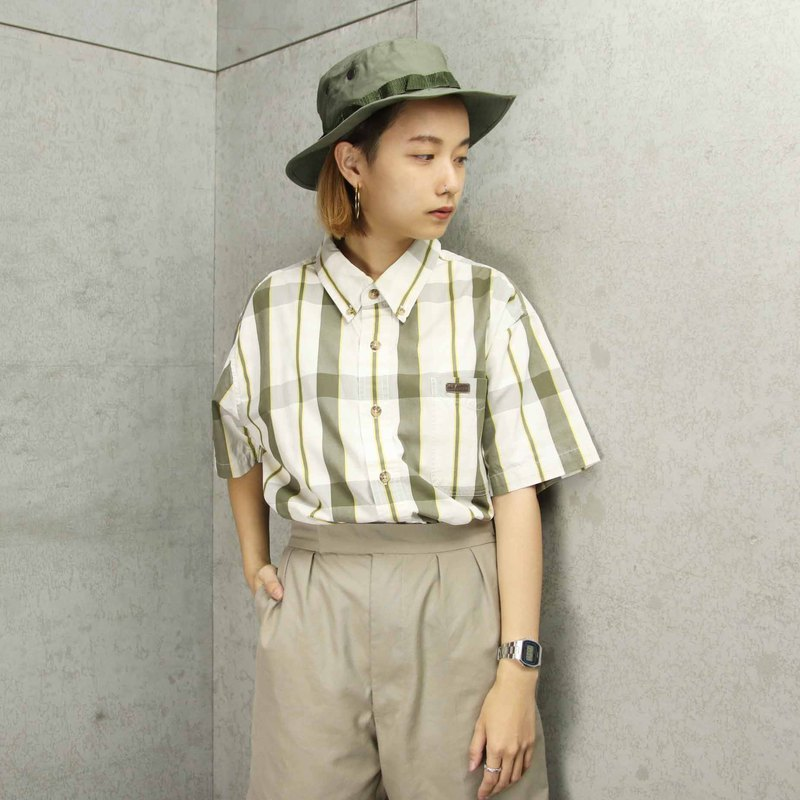Tsubasa.Y vintage house Carhartt006 plaid short-sleeved shirt, cotton shirt vintage
