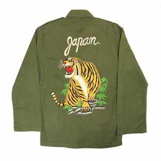 Tsubasa.Y Ancient House A04 Ancient Tigers Embroidered Army Shirt, Shirt Embroidered Military Dress