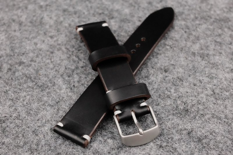 Horween Chromexcel Unlined Black Leather Watch Strap