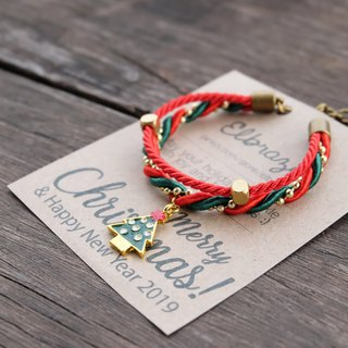 Double layer red green rope bracelet with Christmas tree charm