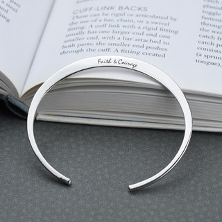 [Customized] simple flat lettering C-shaped bracelet (sterling silver bracelet Valentine's Day gift)