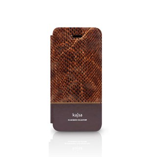 Cowhide Snake Series Flip Phone Case Coffee
