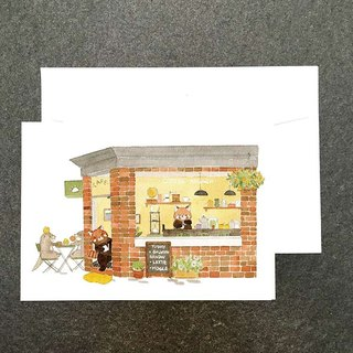 Animal mall の watercolor postcard Red Panda Cafe