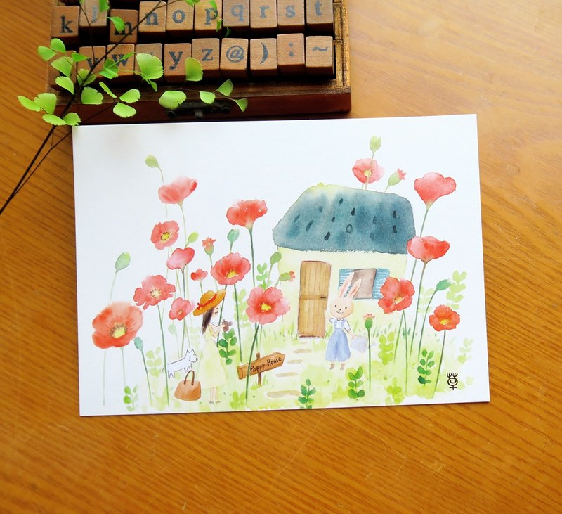 Dream hut no.3 / poppy flower cottage postcard
