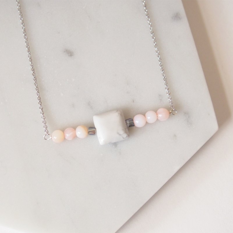 Young girl · simple pink white · square white turquoise · rhodium-plated copper chain necklace (45cm) gift