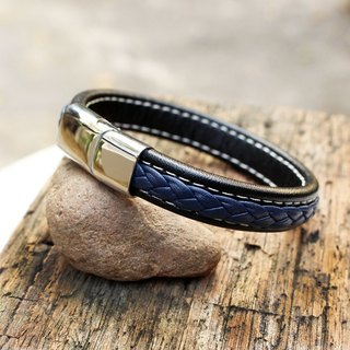 Darling Leather Bracelet - Black genuine cow leather bracelet with Blue Braid