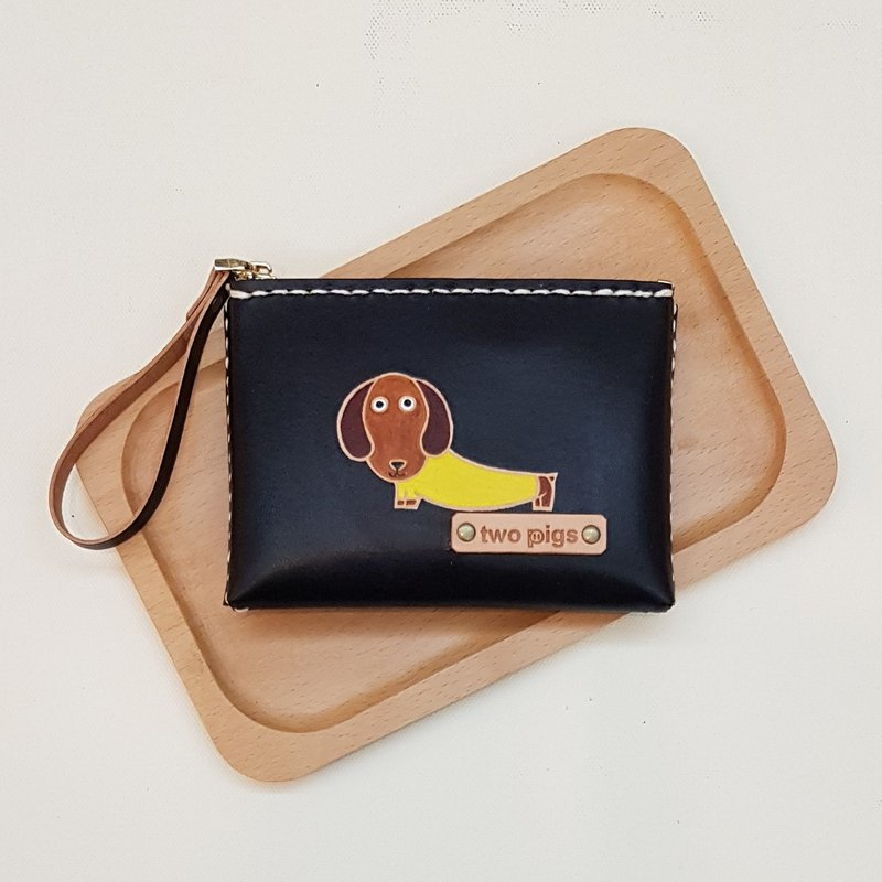 Twopigs - two pigs play leather home handmade leather goods - dachshund coin purse. Can be marked with an English name