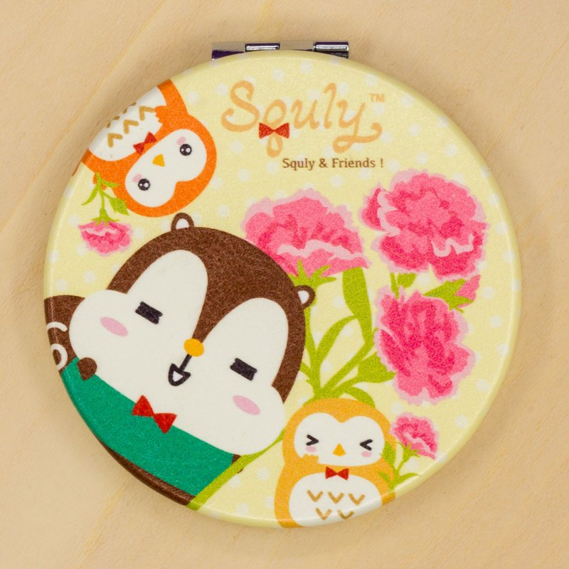 PU Leather Mirror Makeup Mirror (Squly and Owlsss with Flowers)