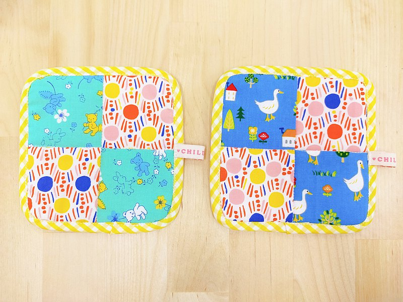 Flaming duck and duck patchwork coaster