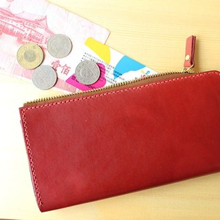Long clip / vegetable tanned leather / hand-stitched / wallet / PURSE