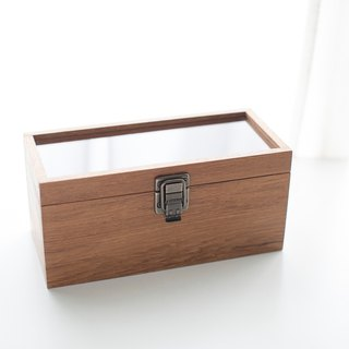 Customized boutique storage teak glass box in the original wooden box