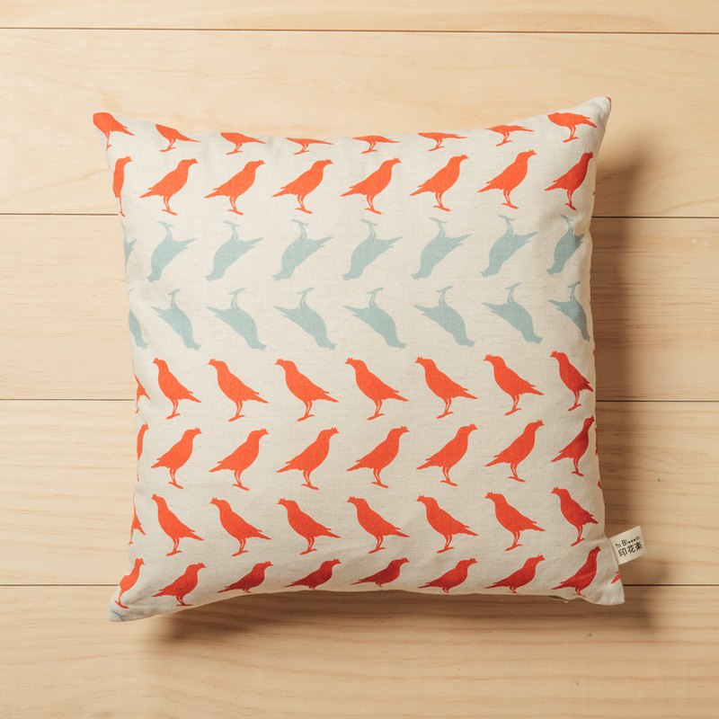Soft Cushion Cover/Crested Myna/Red & Green