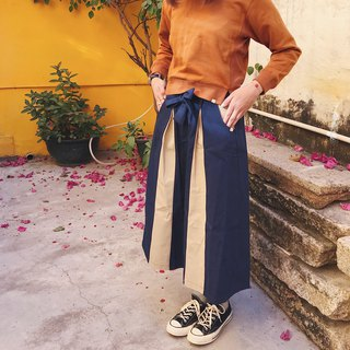 Triangle mixed colors - tie long skirt half-length