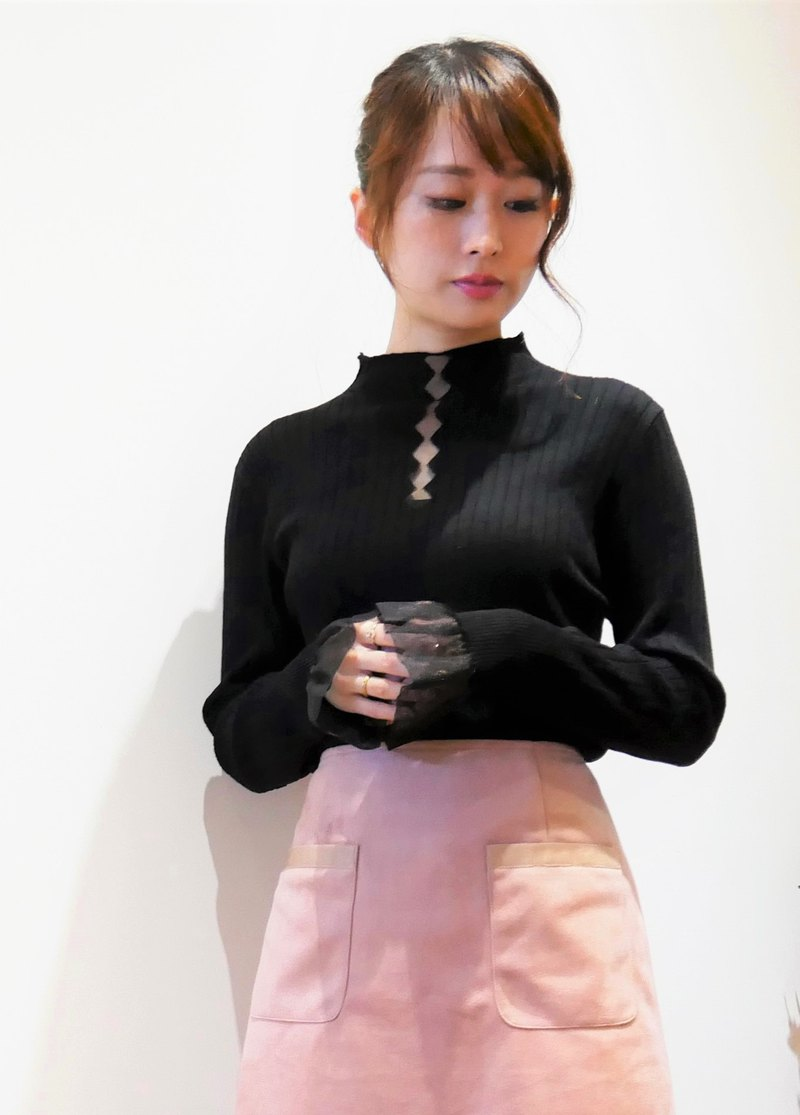 Knitted Mesh Ruffle Sleeve Sweater (R6619A)