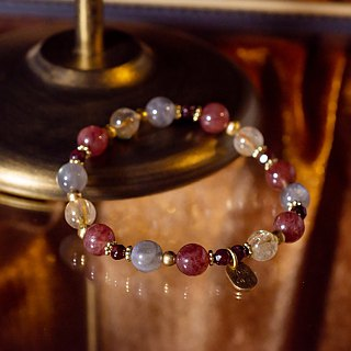 <Slow and warm natural stone series>C1202 Strawberry Crystal Titanium Bracelet