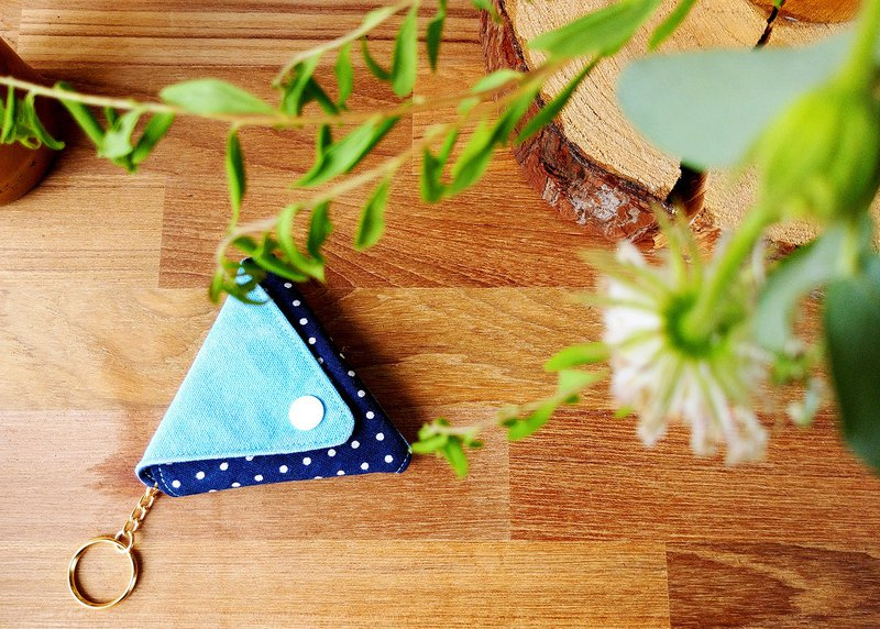 Blue canvas two-color triangle coin purse key ring