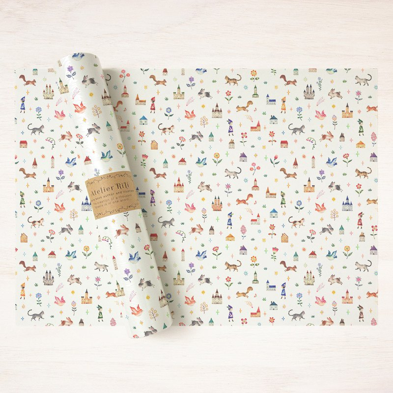 "6 sheets set. Wrapping paper A3 ""Kingdom of children and animals"" WP-A3531"