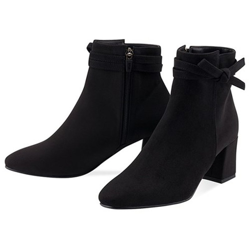 SPUR Tie up a ribbon ankle boots OF9032 BLACK