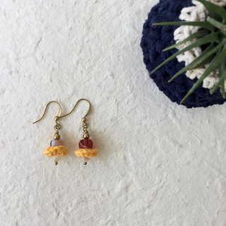 Petite crochet x stone earrings -red agate and opal