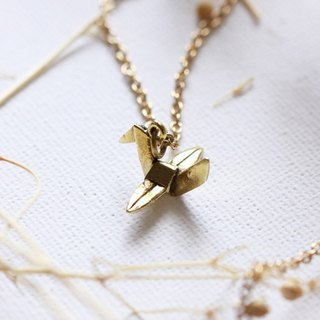 Tiny Origami Bird Necklace / Linen Jewelry / Everday Jewelry / Brass Jewelry.
