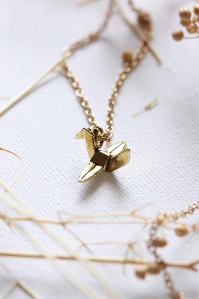 Tiny Origami Bird Necklace by linen.