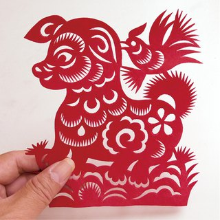 Happy dog ​​paper-cut go22