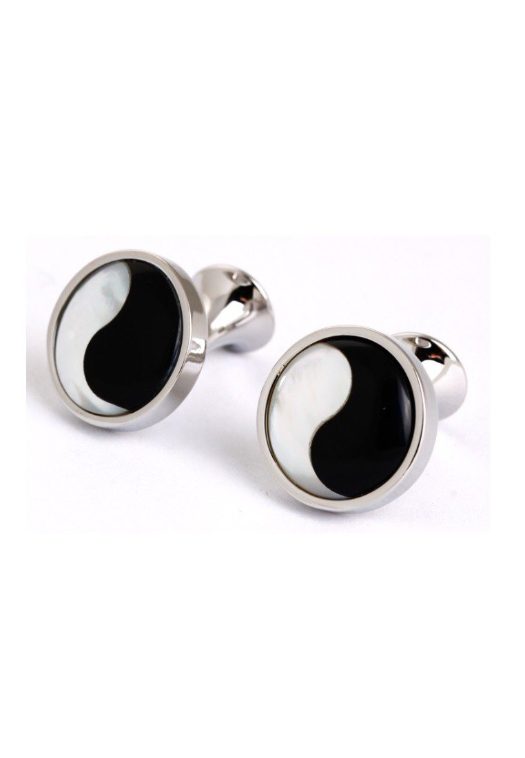Kings Collection Black and White Tai Chi Cufflinks KC10010 Black