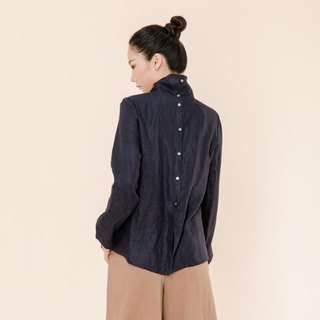 BUFU  linen turtleneck  back button shirt    SH170619